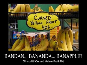 Oh sod it! Curved Yellow Fruit 40¢