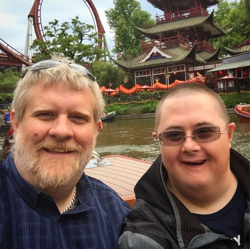 Two brothers on a boat ride at Tivoli Park copenhagen