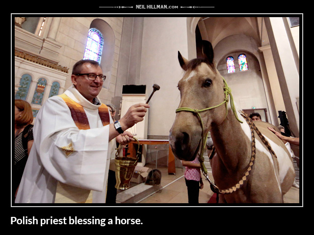 Polish priest blessing a horse