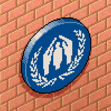 UNHCR logo in pixel art