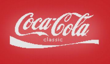 Coca-Cola logo in pixels