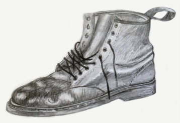 Pencil drawing of an old Doc Martin boot