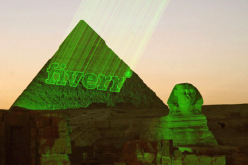 Laser projected on pyramids