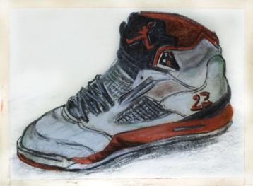 Nike Air Jordans pastel drawing