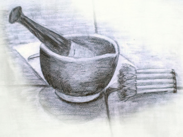 Pencil drawing of pestle and mortar still life